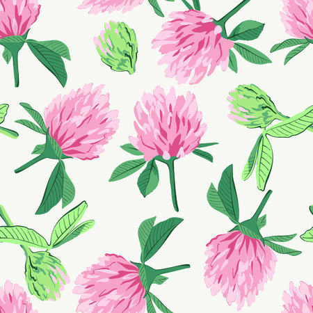 Floral seamless pattern with red clover isolated on white background. Cute pink flowers. Ilustração