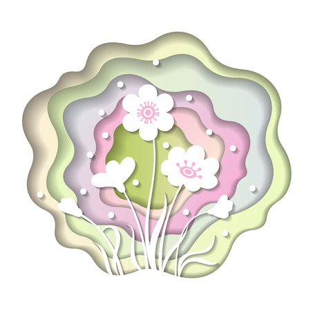 Abstract paper layered carve with floral design for spring illustration.