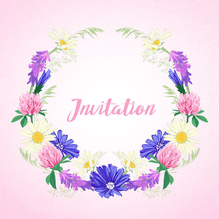 Cute invitation with floral wreath. Greeting card with wildflowers. Love concept. Vector illustration.