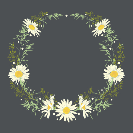 Hand drawn wreath with camomile and herbs. Spring summer decor frame. Vector illustration. Design element for invitations, greeting cards, cosmetic and other. Vectores