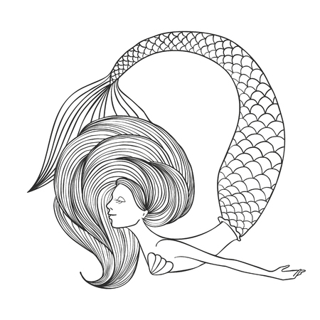Hand gezeichnete lineare süße Mädchen Meerjungfrau für Malbuch lokalisiert auf weißem Hintergrund. Zeichenkontur zum Färben. Vektorillustration.