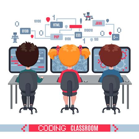 Los niños aprenden a codificar en computadoras portátiles en la escuela. Concepto de lección de informática en la escuela. Ilustración de vector aislado sobre fondo blanco. Diseño para banner, cartel o sitio web. Ilustración de vector