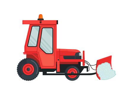 Icona del trattore della neve in stile piano isolato su bianco.