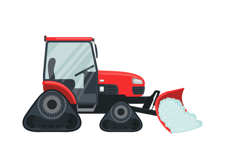 Snow tractor icon in flat style isolated on white. Illustration