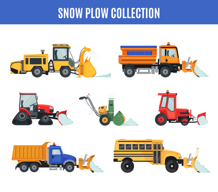 Snow Plow collection in flat style on white.