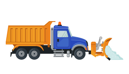 Snow Plow truck in flat style isolated on white. Illustration