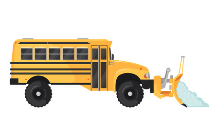 Snow Plow school bus in flat style on white.