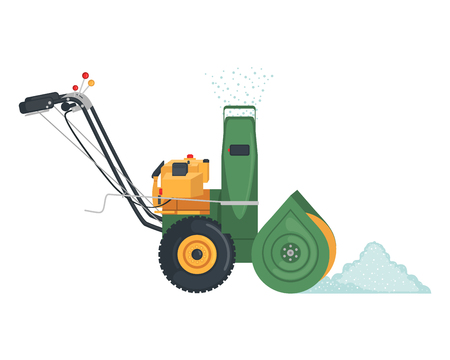Green Snowblower icon in flat style isolated on white background. Vector illustration.