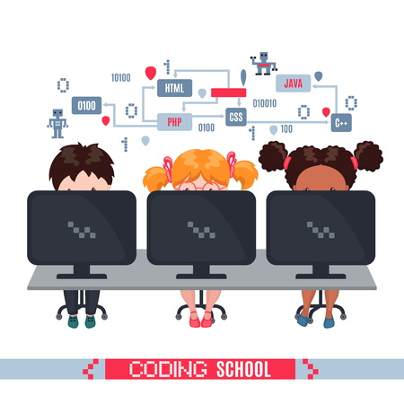 Kids learn coding on laptops in school. Concept of informatics lesson at school. Vector illustration isolated on white background. Design for banner, poster or website.