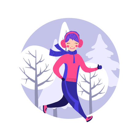 Cute running girl in winter gear isolated on white. Vector illustration. Healthy lifestyle.