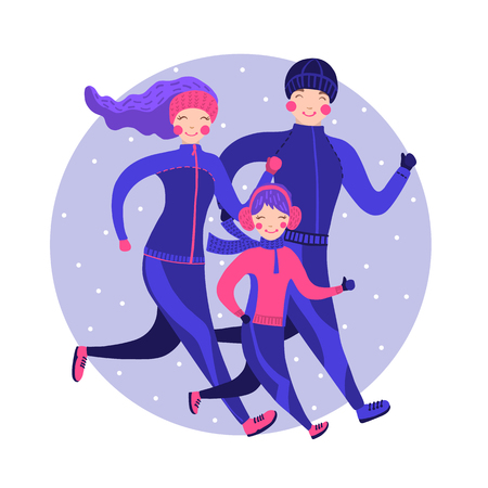 Happy family in winter gear running outside. Vector illustration. Time together concept. Healthy lifestyle.  イラスト・ベクター素材