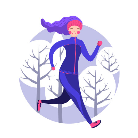 Cute woman in winter gear running outside in snow-covered park. Vector illustration. Girl running winter marathon. Healthy lifestyle. 写真素材 - 125841799