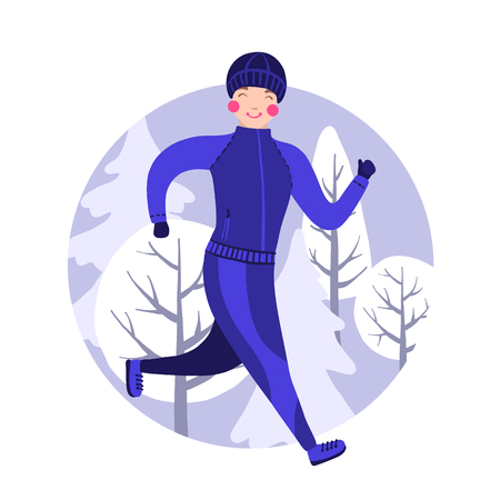Man in winter gear running outside in snow-covered park. Vector illustration. Young man running winter marathon. Healthy lifestyle. 写真素材 - 125841800