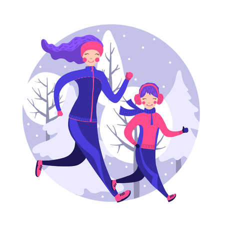 Happy family in winter gear running outside. Vector illustration. Mother and daughter running winter marathon. Family sport concept. Healthy lifestyle.