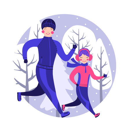 Happy family in winter gear running outside. Vector illustration. Father and daughter running winter marathon. Family sport concept. Healthy lifestyle.