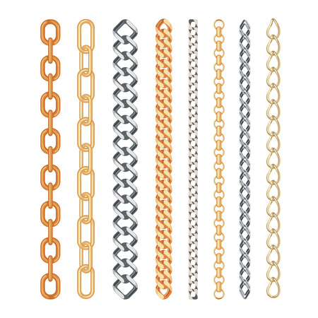Golden and silver chain set isolated on white background. Fashion collection. Vector illustration.