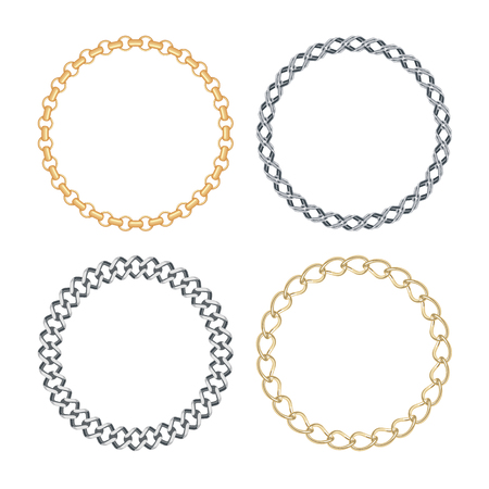 Set of Circle golden and silver chain frames isolated on white background. Vector illustration.