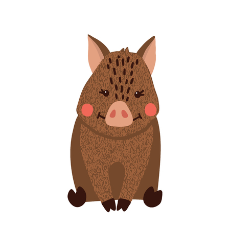 Cute hand drawn wild boar isolated on white background. Forest animal. Vector illustration.