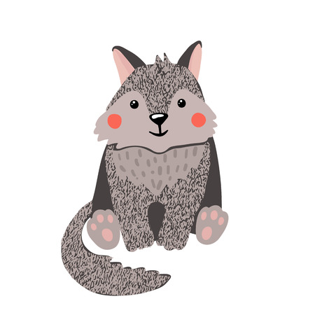 Cute hand drawn little wolf isolated on white background. Forest animal. Vector illustration. Иллюстрация