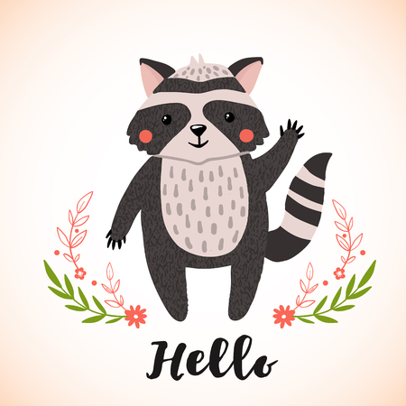 Greeting card with cute raccoon in hand drawn style. Forest animal. Design element for poster, banner, t-shirt and other. Vector illustration.
