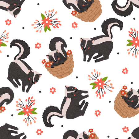 Seamless pattern with cute skunk and flowers isolated on white.Baby shower background.Nursery concept.Design element for fabric,textile,wallpaper,prints,scrapbooking or others.Vector illustration.