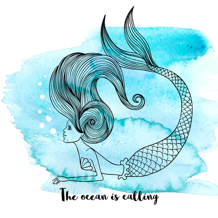 Cute graphic hand drawn mermaid on blue watercolor background. Fashion artworks, t-shirt graphics, greeting card, poster or banner. Vector illustration.