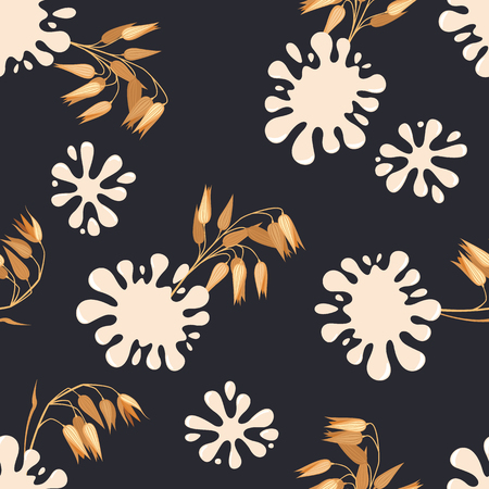 Seamless pattern with oat and splashes of milk.