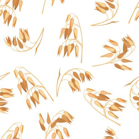 Seamless pattern with oat branches on white. Ilustração Vetorial