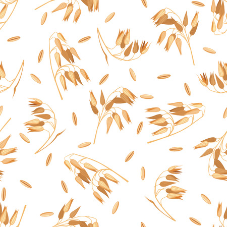 Seamless pattern with oat branches on white.