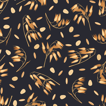 Seamless pattern with oat branches on black.