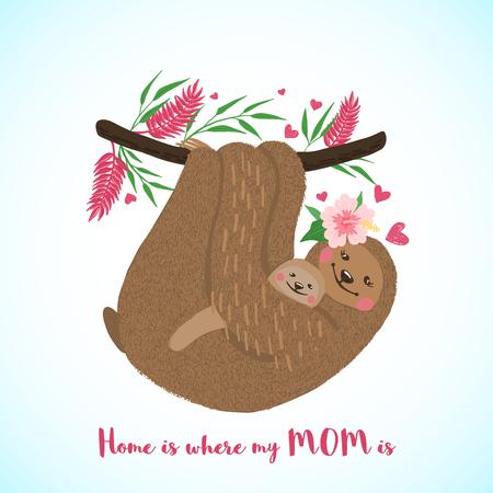 Glückliche Muttertagskarte mit süßer Faultiermutter und Baby im handgezeichneten Stil. Cartoon-Tier. Gestaltungselement für Poster, Banner, T-Shirts und andere. Vektor-Illustration.