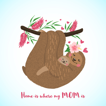 Happy mothers day card with cute sloth mom and baby in hand drawn style. Cartoon animal. Design element for poster, banner, t-shirt and other. Vector illustration.