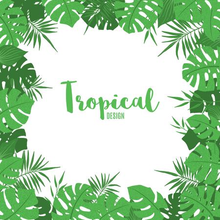 Marco tropical con exóticas hojas tropicales, palmeras y monstera en estilo dibujado a mano. Plantilla de borde floral. Ilustración vectorial. Ilustración de vector
