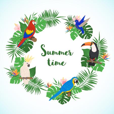 Tropischer Rahmen mit Palme, Monstera und exotischen Vögeln im handgezeichneten Stil. Vorlage für florale Grenze. Vektor-Illustration. Vektorgrafik