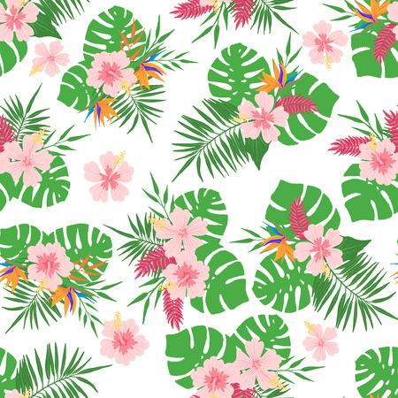 Modello senza cuciture tropicale con foglie e fiori esotici. Elemento di design per tessuti, tessuti, carta da parati, scrapbooking o altri. Illustrazione vettoriale.