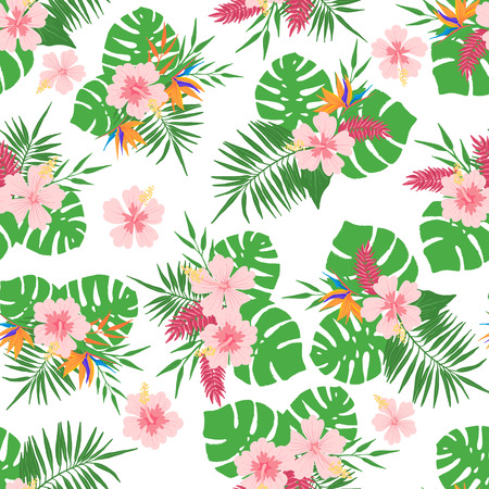 Tropical seamless pattern with exotic leaves and flowers. Design element for fabric, textile, wallpaper, scrapbooking or others. Vector illustration.