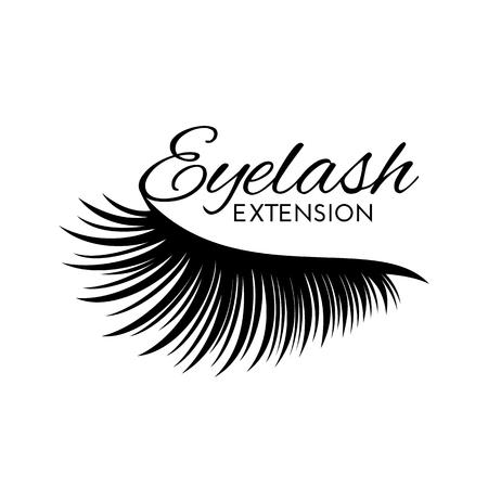 Eyelash extension isolated on white background. Design element for beauty salon. Vector illustration.