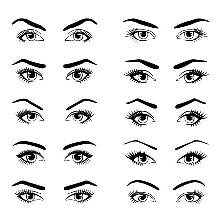 5f37e5170e9 Set of various types of female eyes isolated on white background. Template  for Makeup.