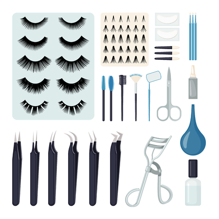 Set of Eyelash extension tools in flat style isolated on white background. Vector illustration.