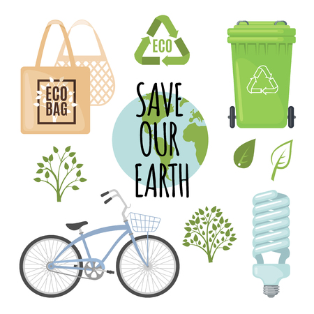 Vector Ecology concept with eco friendly icons.