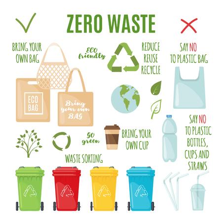Vector Zero waste set in flat style. Illustration