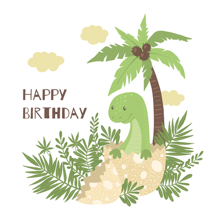 Cute greeting card with cartoon baby dinosaur hatching from egg isolated on white background. Happy Birthday concept. Little dino for t-shirt, kids apparel, poster, nursery or etc. Vector illustration.
