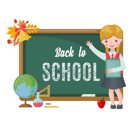 Cute girl with chalkboard, books and school supplies isolated on white background. Pupil in uniform. Back to School cartoon card. Education concept. Vector illustration. Vektorové ilustrace