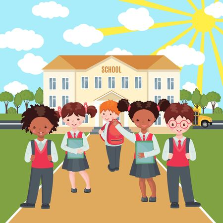Happy kids with bags and books on school building background. Education concept. Welcome back to school composition with pupils. Vector illustration. Иллюстрация