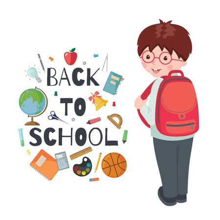 Cute School boy character with backpack and school supplies isolated on white background. Happy pupil. Education concept. Vector illustration.
