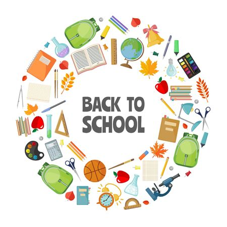 Back to school illustration template in flat style isolated on white background. Vector illustration. Иллюстрация