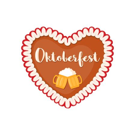 Traditional bavarian gingerbread heart icon in flat style isolated on white background. Vector illustration. Ilustração