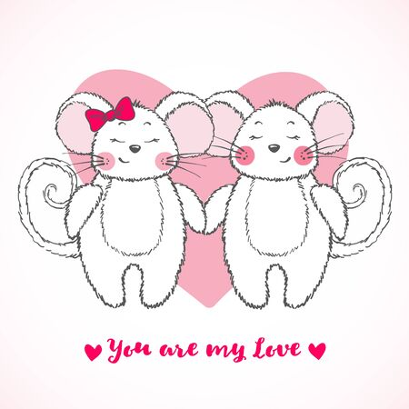 Valentines Day greeting card with cute mouse falling in love isolated on white backgrouns. Funny mice. Vector illustration.