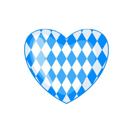 Bavarian flag icon in form of heart in flat style isolated on white background. Vector illustration. Illustration