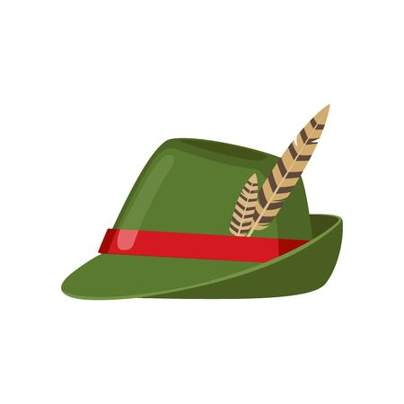 Green oktoberfest hat icon with feather in flat style isolated on white background. Vector illustration. Ilustração